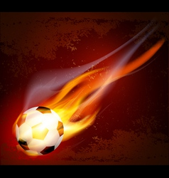 flying flaming soccer ball vector image vector image