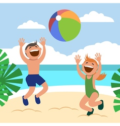 Funny kids on the beach happy boy and girl vector