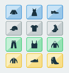 Garment icons set collection of casual sneakers vector