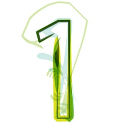 Green number 1 vector image vector image
