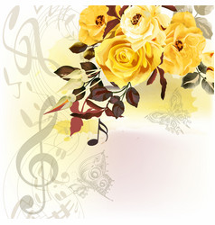 grunge music romantic background with notes vector image vector image