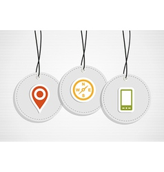 Hanging gps badges vector image