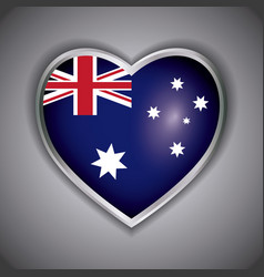 happy australia day with flag on a heart design vector image