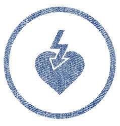 Heart shock strike rounded fabric textured icon vector