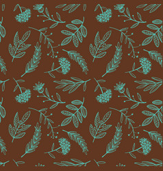 Herbal sketch detox seamless pattern brown vector