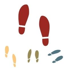 Imprint soles shoes icon set isometric effect vector