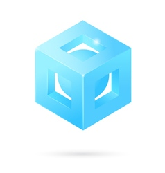 Isometric perforated cube logo vector