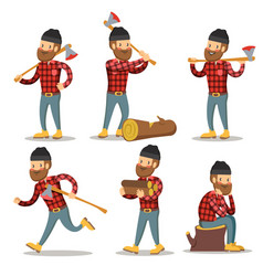 lumberjack cartoon character set woodcutter vector image