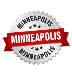 Minneapolis round silver badge with red ribbon vector