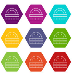 ruler and protractor icon set color hexahedron vector image