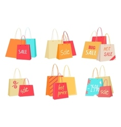 Sale concepts with paper bags set vector