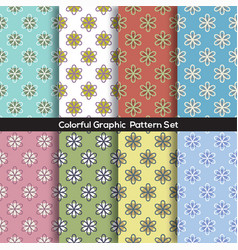 Set of 8 vintage flowers graphic pattern vector