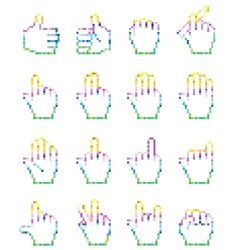 Set of unusual pixelated hand icons vector image vector image