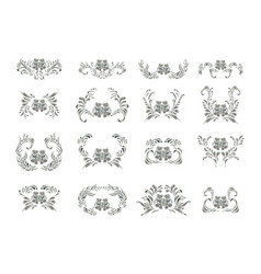 Silver ornament on white background vector