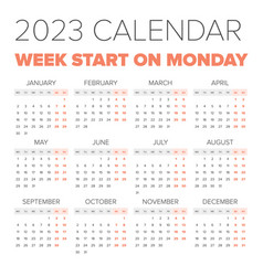 simple 2023 year calendar vector image vector image