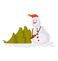 Snowman in red christmas hat carries small spruce vector