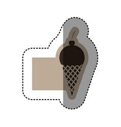Sticker monochrome emblem with ice cream cone vector