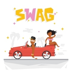 Swag boy and sexy girl vector
