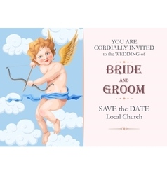 Vintage wedding invitation with cupid vector