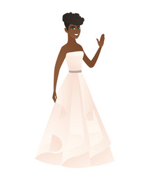 young african-american bride waving her hand vector image