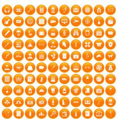 100 case icons set orange vector