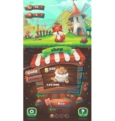 Feed the fox gui match 3 shop vector