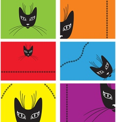 Card with a black cat vector
