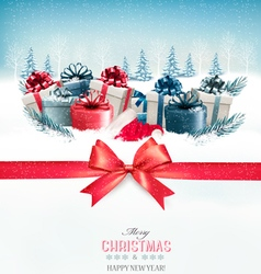 Merry christmas background with a red ribbon and vector