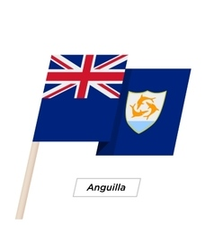 Anguilla ribbon waving flag isolated on white vector