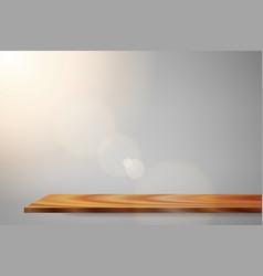 sunrise lens flare wood shelf vector image