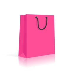 Blank shopping bag with rope handles pink black vector