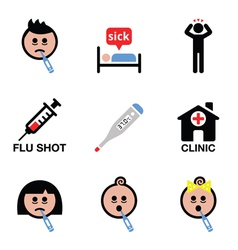 Cold flu sick people icons set vector