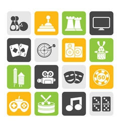 Silhouette entertainment objects icons vector image
