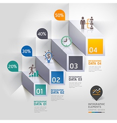 3d business infographic staircase diagram vector