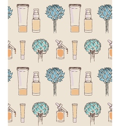 Cosmetics seamless pattern hand drawn Scin care vector image