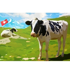 Cows on mountain meadow vector