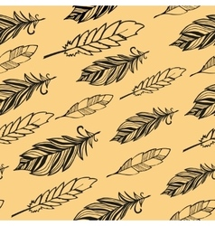 Seamless pattern hand drawn bird black feathers vector