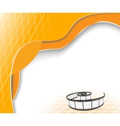 orange background with film strip vector image