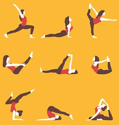 Yoga yoga set yoga exercises women yoga yoga vector