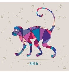 New year 2016 creative greeting card with monkey vector image