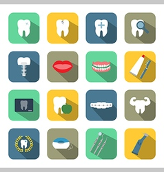 Dental and teeth health flat style icon set vector