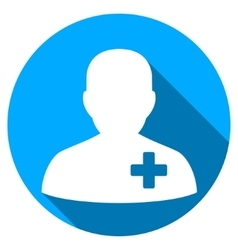 Medical volunteer flat round icon with long shadow vector