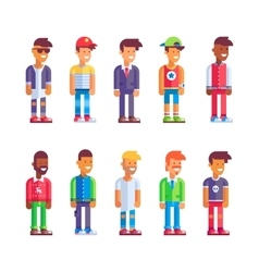 Set of male characters in flat design vector