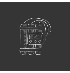 Dynamite and detonator drawn in chalk icon vector
