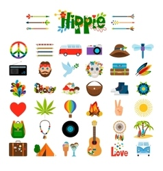 Hippie flat icons vector image