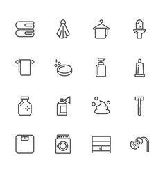 bathroom lines icons outline icon vector image vector image
