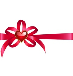 Bow with heart vector image vector image