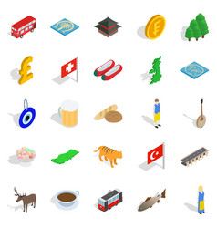 central europe icons set isometric style vector image vector image