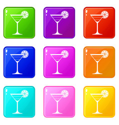 Cocktail set 9 vector