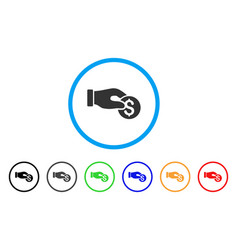 coin donation rounded icon vector image vector image